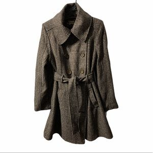 Novelti Double Breasted Wool Blend Trench